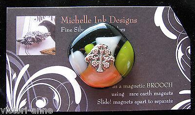 Fine Silver Glass Tree of Life Needle Minder Magnet Michelle Ink Needlepoint PMC