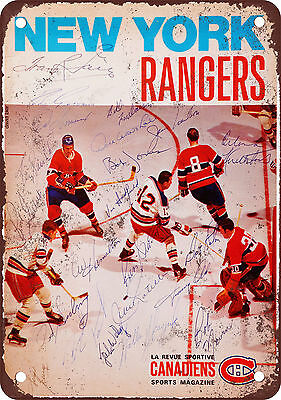"7"" x 10"" Metal Sign - 1969 NY Rangers vs. Montreal Canadiens - Vintage Look Repr"
