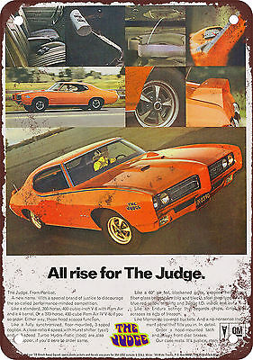 "7"" x 10"" Metal Sign - 1969 Pontiac GTO The Judge All Rise - Vintage Look Reprodu"