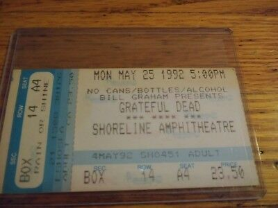 Grateful Dead Ticket Stub, 05/25/1992, Shoreline Amp, California