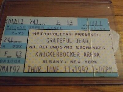 Grateful Dead Ticket Stub, 06/11/1992, Knickerbocker Arena, Albany, New York