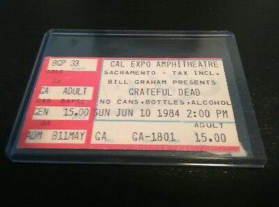 Grateful Dead, Concert Ticket Stub, 06/10/1984, Cal Expo Amphitheatre, Sacrament