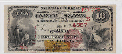 $10.00 1882 BB Reading National Bank Pennsylvania PA  **None on Census!**