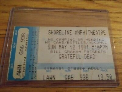 Grateful Dead Ticket Stub, 05/12/1991, Shoreline Amphitheatre, Mountainview, CA