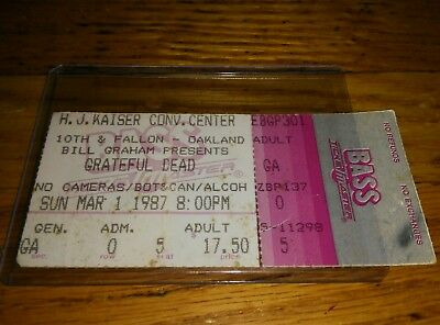 Grateful Dead Ticket Stub, 03/01/1987, H.J. Kaiser, Oakland, California