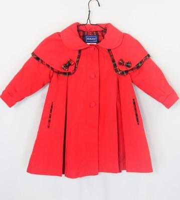 VTG 80s Red Rothschild Plaid Bows Pleat Toddler Cape Capelet Swing Girls Coat 3T