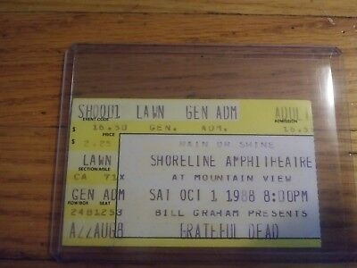 Grateful Dead, Concert Ticket Stub, 10/01/1988, Shoreline Amphitheatre