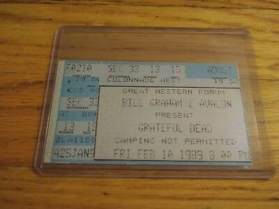 Grateful Dead, Concert Ticket Stub, 02/10/1989, Great Western Forum