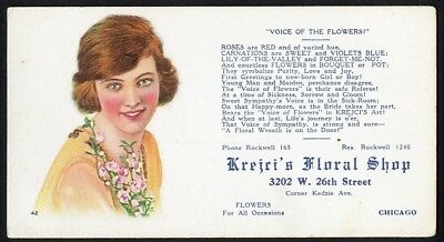 Chicago KREJCI'S FLORAL SHOP Advertising BLOTTER 26th St c 1920 FLOWERS Woman