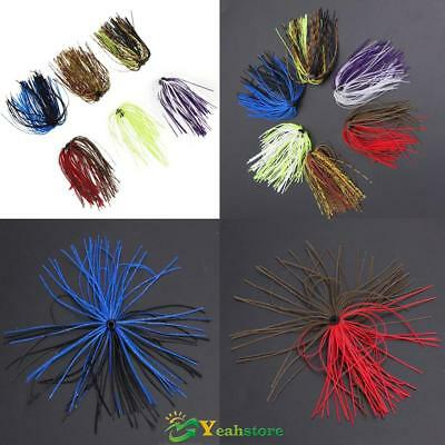 6 Bundles Silicone Skirts DIY Salty Rubber Jig Lures Squid Fishing Bait