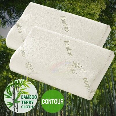 Luxury Bamboo Pillow Anti Bacterial Memory Foam Fabric Cover 50 X 30CM Xmas Gift