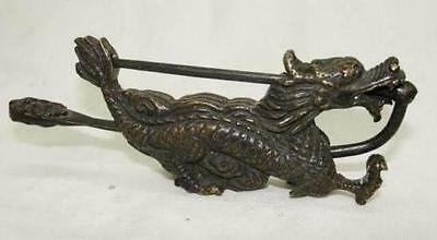 Rare collectibles Chinese old style Brass Carved Dragon Figure lock with key mk