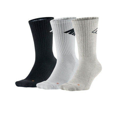 c2c01131e New Mens Nike 3 Pairs Athletic Dri-Fit Cushioned White Grey Black Crew Socks  L