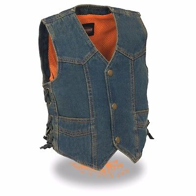 Milwaukee Leather Kids Basic Denim Vest **Snap Closure** & **Side Lace** MDK3900