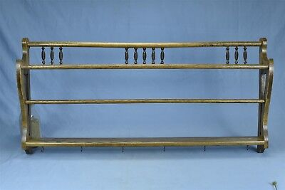 Antique OAK VICTORIAN CUP & PLATE WALL HANGING DISPLAY RACK REFINISHED #04599