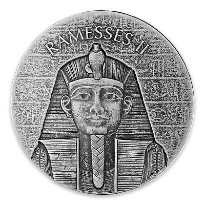 2017 Republic Of Chad Egyptian Relic Series Ramesses 2 oz Silver Antiqued Coin
