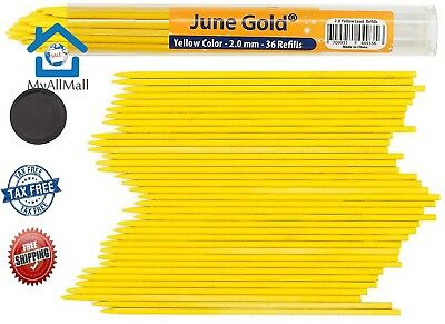 36 Yellow Colored Lead Refills 2.0 mm Extra Bold Thickness for Heavy Use Pencil