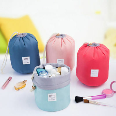 Barrel Shaped Travel Makeup Bag High Capacity Drawstring Cosmetic Organizer AA