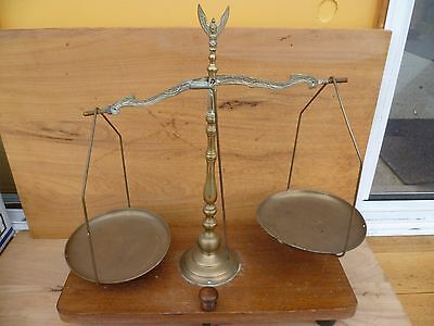 Vintage Old Large Size Timber And Brass Hanging Scales Set, (A519)