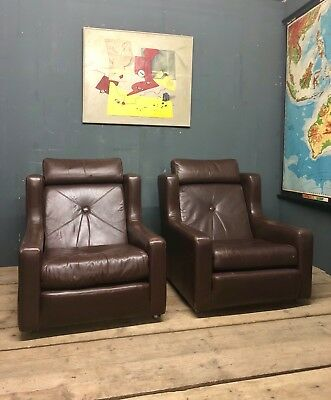 Mid Century Vintage Retro Danish pair of  Leather Lounge Arm Chairs 1960s 70s