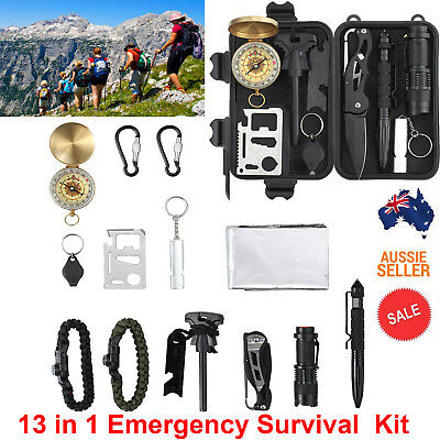 13 in 1 SOS Kit Outdoor Emergency Equipment Box For Camping Survival Gear Kit AU