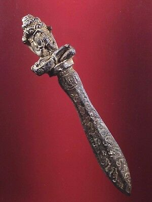 thai buddha amulet KNIFE KHMER TALISMAN ANTIQUE PROTECT EVIL Magic Charm antique