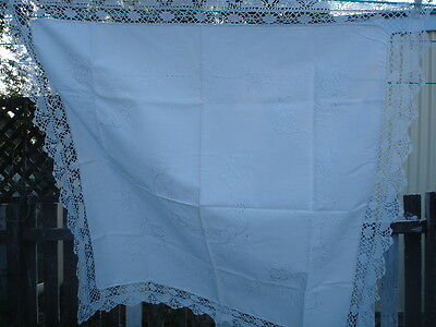 Vintage Tablecloth Whitework Embroidery Cotton Lace Edges