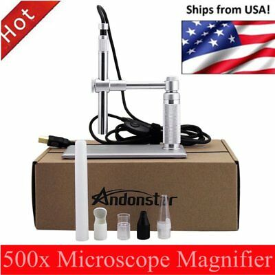 5MP USB 500X 8 LED Digital Microscope Endoscope Magnifier Camera+Lift Stand PZ