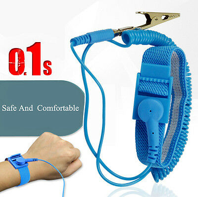 Wristband Metal Clip Anti Static PVC Wrist Strap Band Antistatic Discharge
