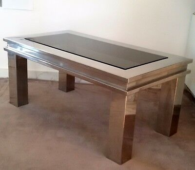 DELIGHTFUL  60s Vintage French Style Mcm Glass & Steel Coffee Table