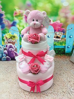2 Tier Teddy Girls Pink Nappy Cake Baby Shower New Arrival - Free Postage!!