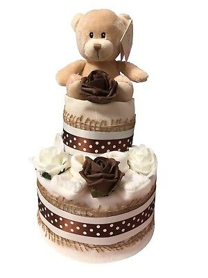 2 Tier Teddy Cream Neutral Nappy Cake Baby Shower New Arrival - Free Postage!!