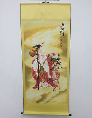 Old Collection Scroll Chinese Painting /Portrait Of The God Of Longevity ZH1043