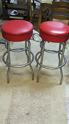 Two Vintage Red With Chrome Bar Stools From Old Drug Store