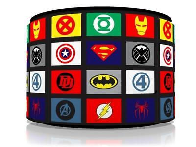 "SUPERHERO LOGOS LIGHT SHADE 11""  KIDS ROOM matches duvet set GAMING  FREE P&P"