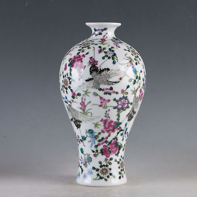 China Porcelain Hand-Painted Crane&Flowers Vase Made During The Da Qing Qianlon
