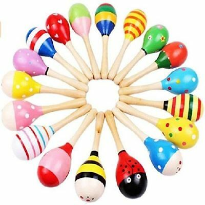 Bright Colors Musical Toy Mini Wooden Ball Instruments Maracas for Kids Set of 4