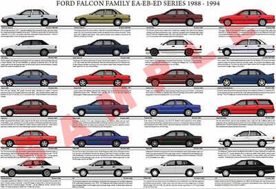 Ford EA EB ED Falcon family model chart poster XR6 XR8 Sprint GT Classic Brock