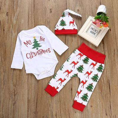 3Pcs Xmas Infant Kids Baby Girls Outfits Clothes Romper Tops+Long Pants+Hat Set