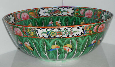 Chinese Porcelain  Famille Rose Cabbage Butterflies Punch Bowl