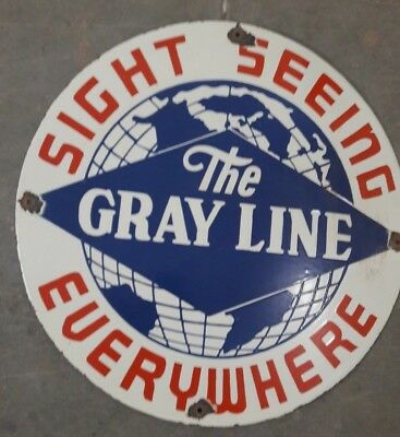 """THE GRAYLINE Porcelain  Sign SIZE 20"""" ROUND"""