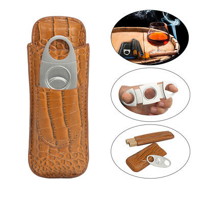 Brown Leather Travel Cigar Case 2 Tube + Cigar Cutter Set 100% AU Fast Ship
