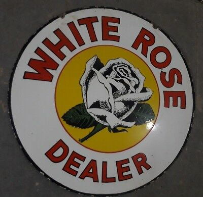 """Porcelain WHITE ROSE DEALER Sign SIZE 30"""" ROUND DOUBLE SIDED"""