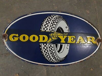 """GOOD YEAR Porcelain Sign Size 18"""" x 10"""" INCHES"""