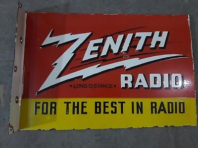 """Porcelain ZENITH RADIO Sign SIZE 19"""" X 13"""" INCHES Flange"""