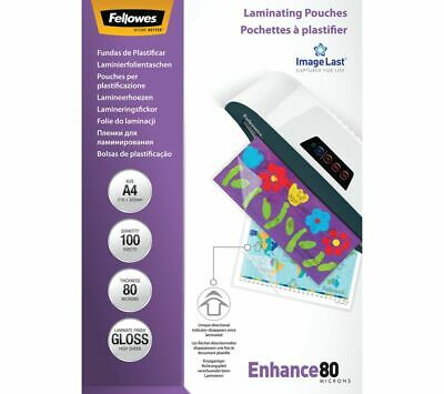 FELLOWES Enhance 80 Micron A4 Laminating Pouches - 100 Pack - Currys