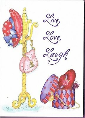 Red Hat Society - 10  Small Cards & Purple Envelopes 9cmx12.5cm Live Love Laugh