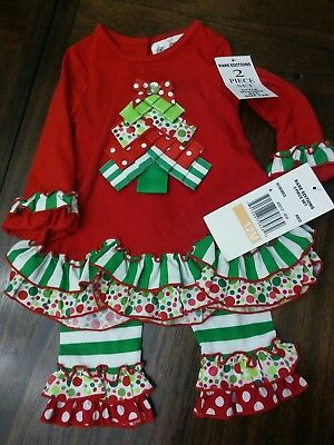 Little Girls 2 piece Christmas outfit SZ 12 months by Rare Editions NWT w Ruffle