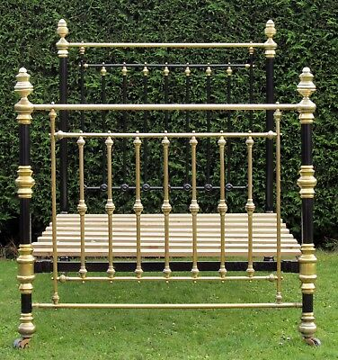 Beautiful Victorian Brass and iron Standard Double Bed with Pine Base
