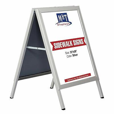 Slide-in A Frame Free Standing Sidewalk Display Sign, 22 x 28 Size, Silver